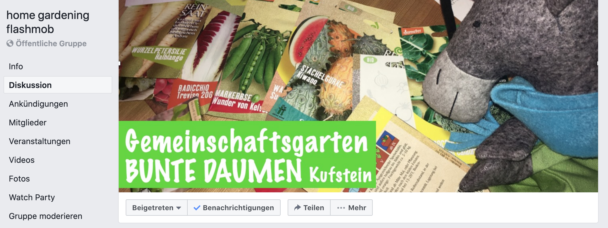 "Facebook Gruppe ""home gardening flashmob"""
